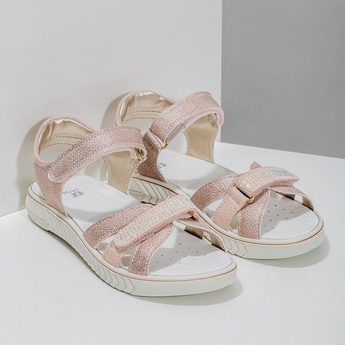 Dívčí růžové sandály s kamínky mini-b, růžová, 361-5612 - 26