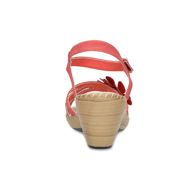 Sandály na stabilním podpatku s kytičkou comfit, červená, 661-5613 - 15