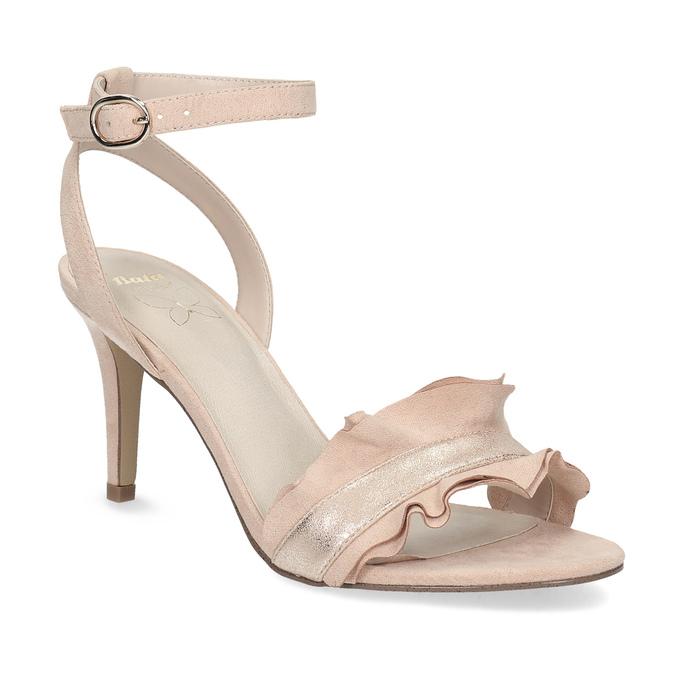 Růžové sandály na jehlovém podpatku s volánem insolia, růžová, 769-5619 - 13