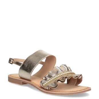 Zlaté kožené sandály s perličkami bata, zlatá, 566-8632 - 13