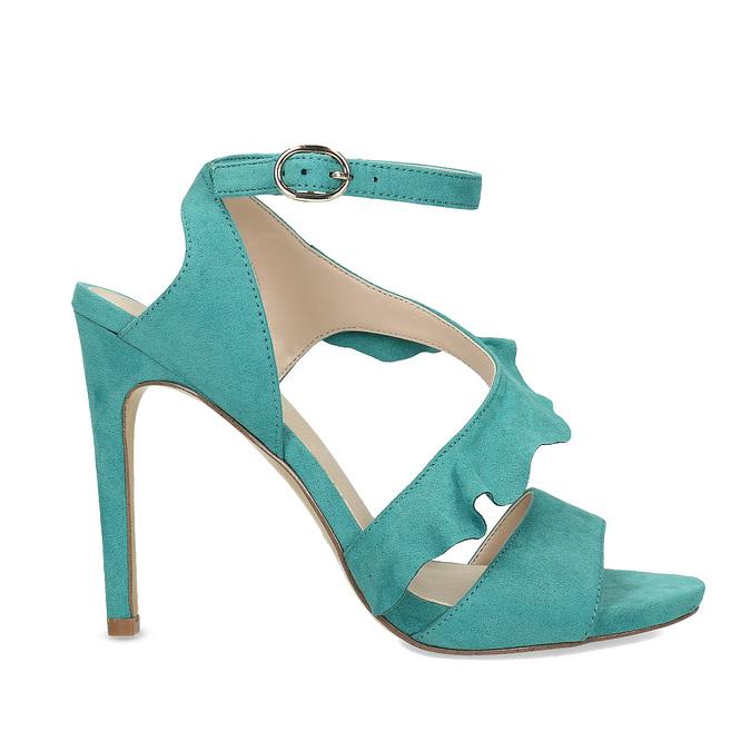 Dámské sandály s volánem tyrkysové insolia, tyrkysová, 769-9620 - 19