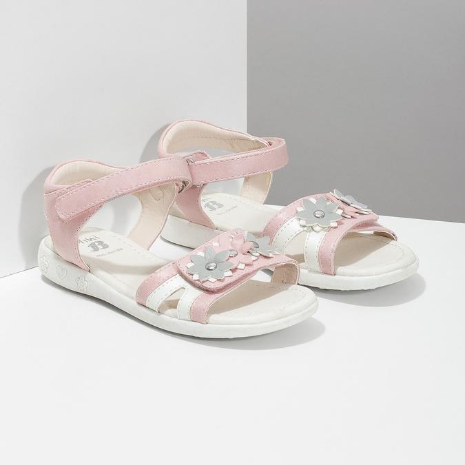 Růžovo-bílé dívčí sandály s kytičkami mini-b, růžová, 261-5615 - 26