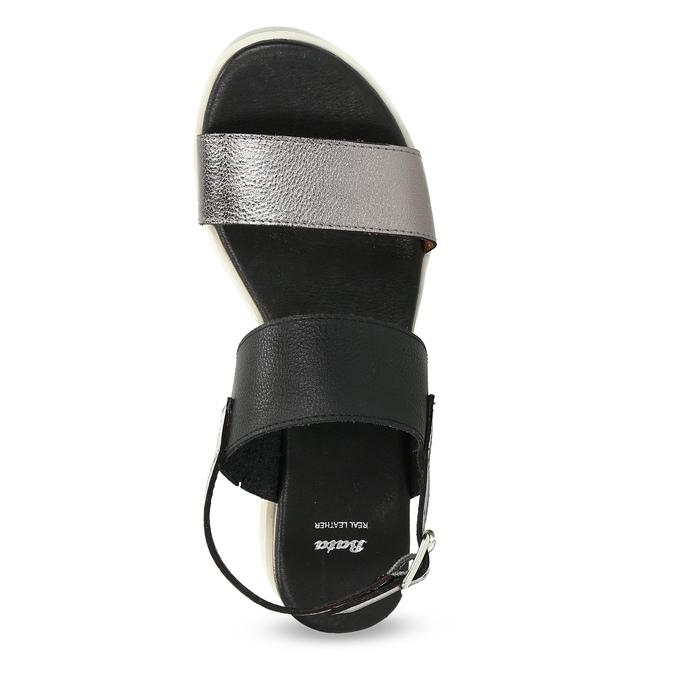 Dámské sandály na flatformě černo-stříbrné bata, černá, 661-6614 - 17