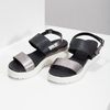 Dámské sandály na flatformě černo-stříbrné bata, černá, 661-6614 - 16