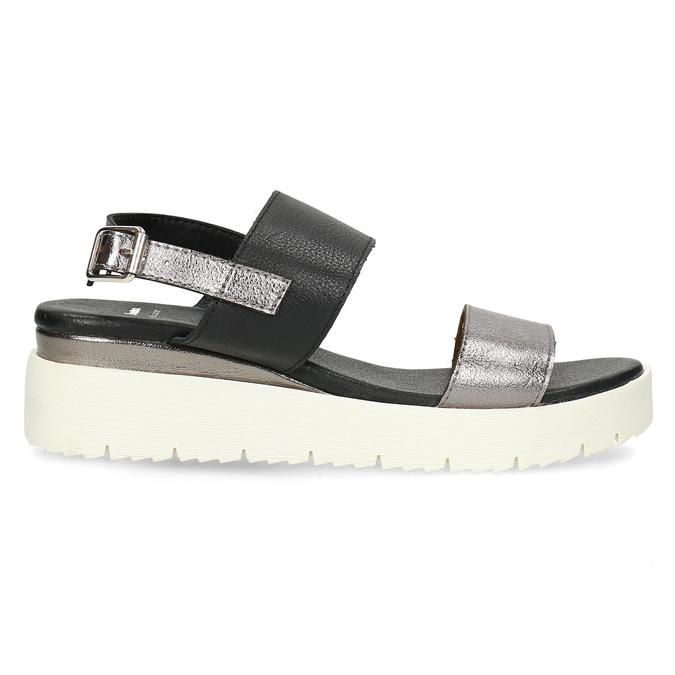 Dámské sandály na flatformě černo-stříbrné bata, černá, 661-6614 - 19