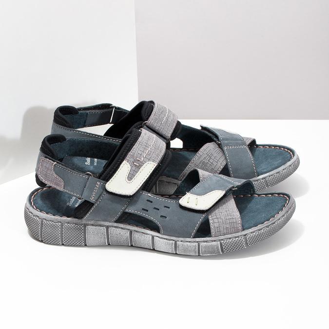 Modré kožené pánské sandály na suchý zip bata, modrá, 866-9640 - 16