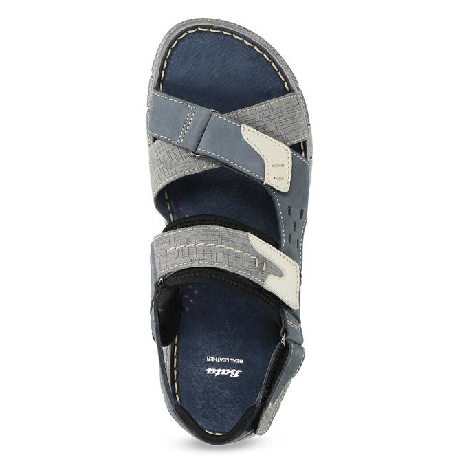 Modré kožené pánské sandály na suchý zip bata, modrá, 866-9640 - 17