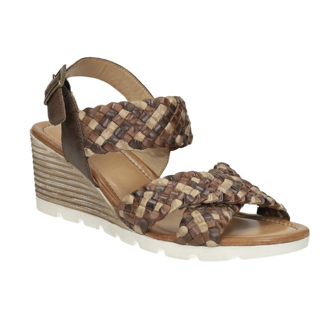 Kožené pletené sandály na klínku hnědé bata, hnědá, 666-4622 - 13