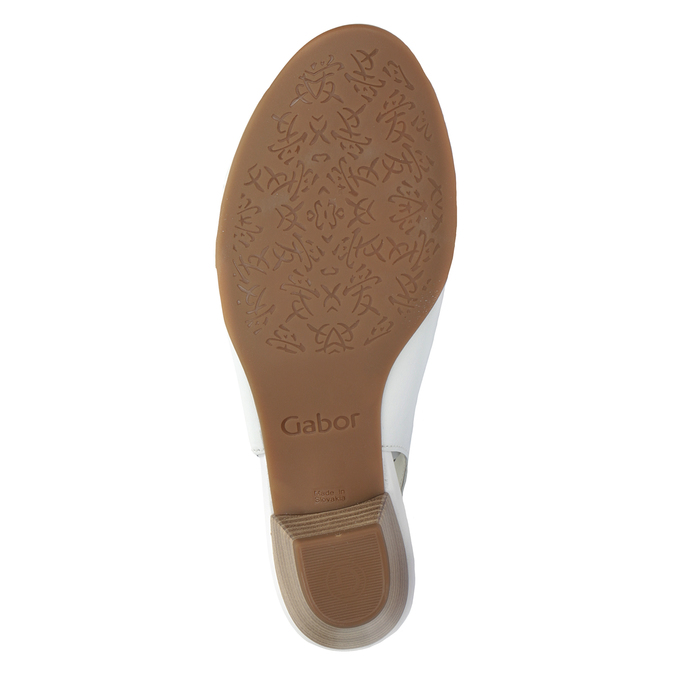 Bílé kožené sandály na stabilním podpatku šíře H gabor, bílá, 666-1351 - 17