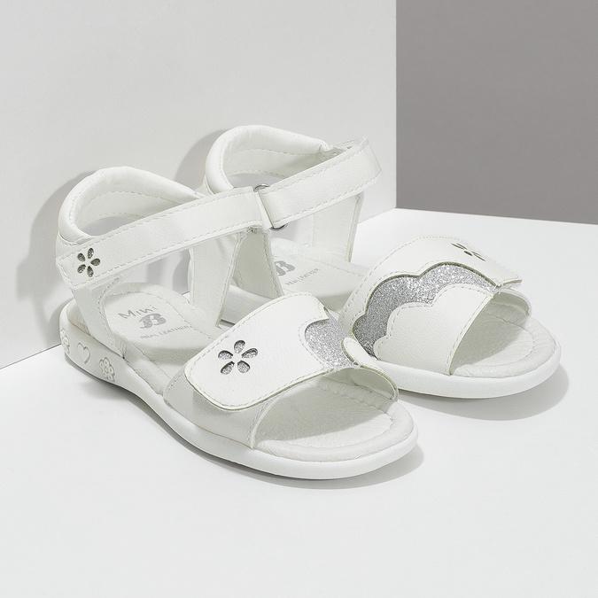 Bílé dívčí sandály se třpytkami mini-b, bílá, 261-1144 - 26