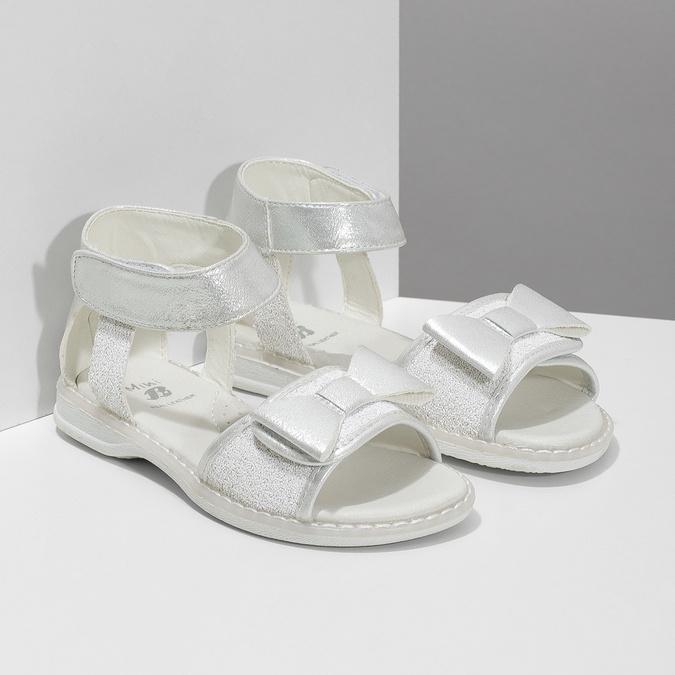 Dívčí stříbrné sandály s mašlí mini-b, stříbrná, 261-1117 - 26