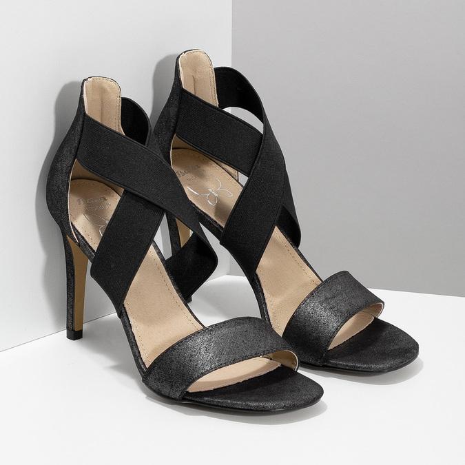 Černé sandály na jehlovém podpatku insolia, černá, 769-6625 - 26