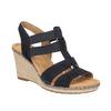 Tmavě modré kožené sandály na klínovém podpatku gabor, modrá, 763-9013 - 13