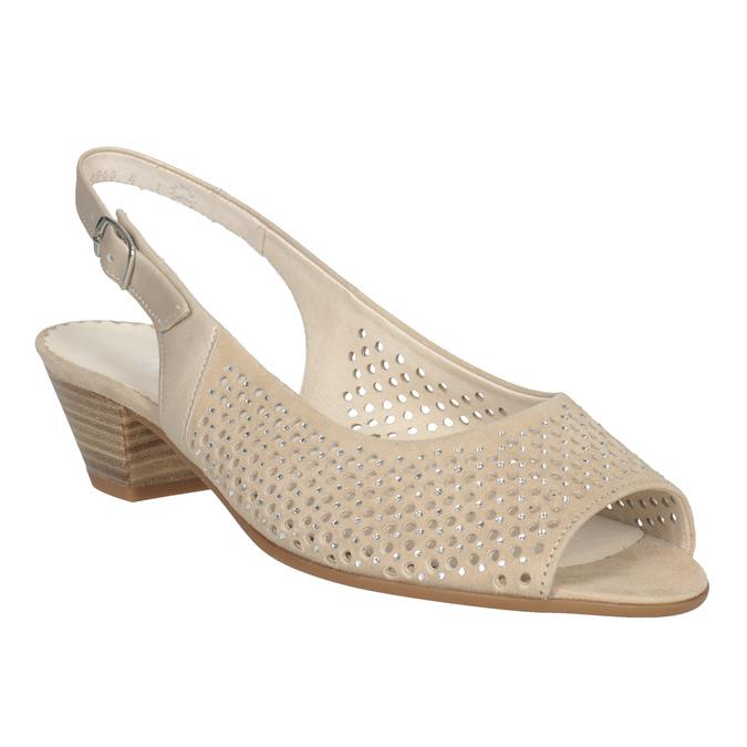 Béžové kožené sandály kamínky šíře H gabor, béžová, 663-8019 - 13