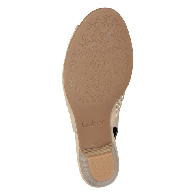 Béžové kožené sandály kamínky šíře H gabor, béžová, 663-8019 - 17