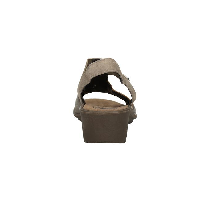 Kožené sandály na klínovém podpatku comfit, bronzová, 666-8620 - 15