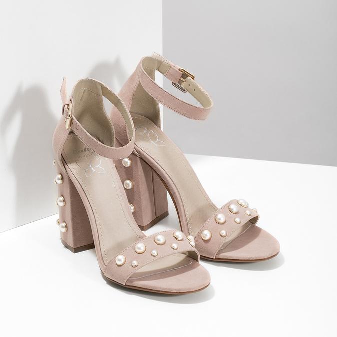 Dámské sandály na podpatku s perlami insolia, růžová, 769-5623 - 26