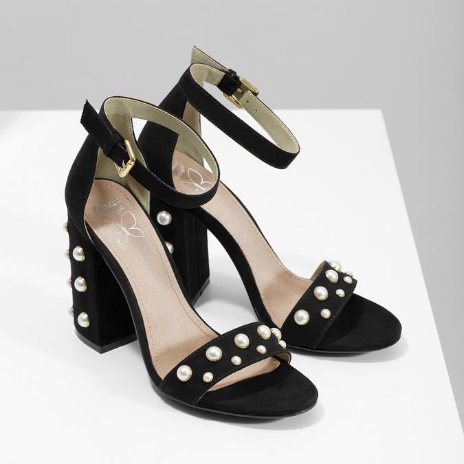 Dámské sandály na širokém podpatku s perličkami insolia, černá, 769-6623 - 26