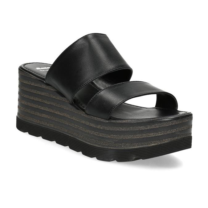 Kožené nazouváky na flatformě bata, černá, 766-6613 - 13