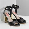 Černé sandály na zlatém podpatku bata-red-label, černá, 761-6619 - 26