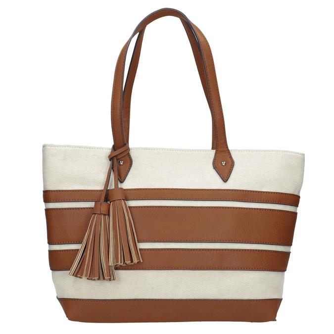 Dámská kabelka s hnědými pruhy bata, béžová, 969-8672 - 26
