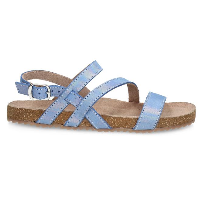 Dívčí sandály s holografickými pásky mini-b, modrá, 466-1609 - 19