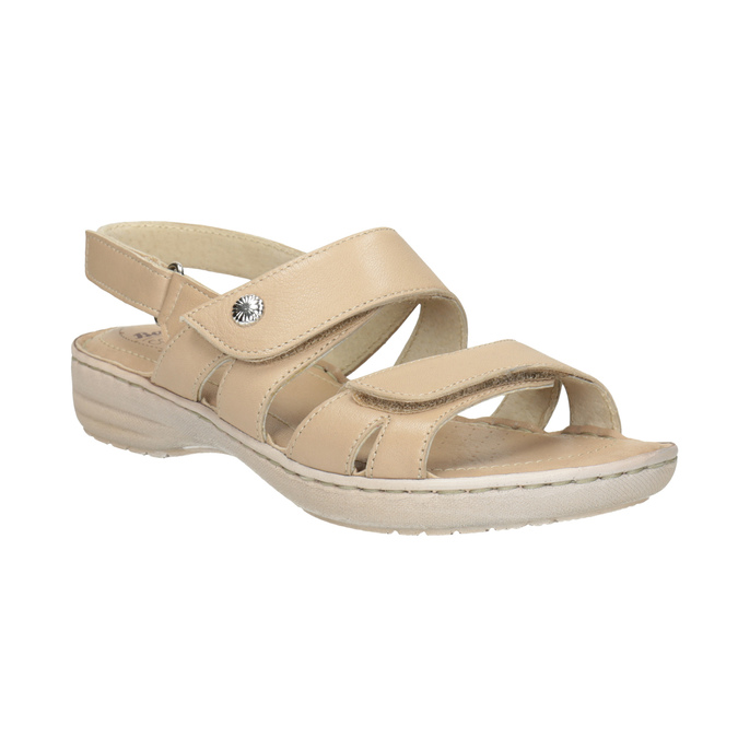 89ff12ba4b Comfit Dámské kožené sandály se suchými zipy béžové - Bez podpatku ...