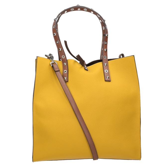 Žlutá shopper bag kabelka se cvočky bata, žlutá, 961-8296 - 16