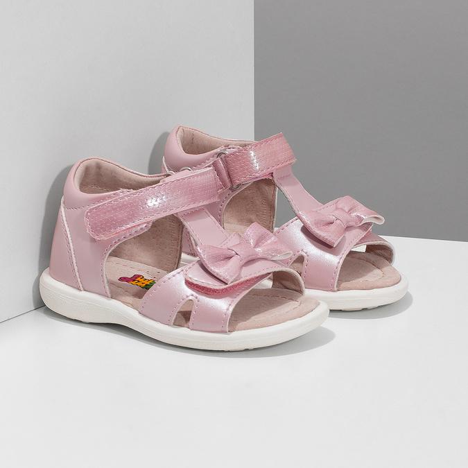 Dětské růžové sandály s mašličkou bubblegummers, růžová, 161-5608 - 26