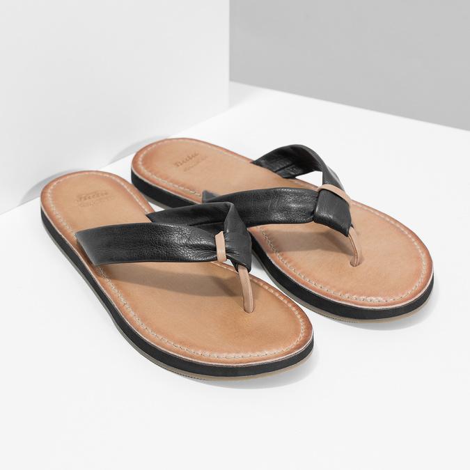 Černé kožené dámské žabky bata, černá, 566-6645 - 26