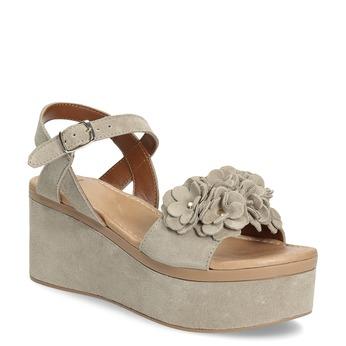 Kožené dámské sandály na flatformě bata, béžová, 763-3601 - 13