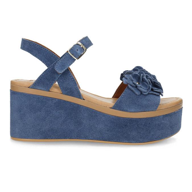 Kožené sandály na flatformě modré bata, modrá, 763-9601 - 19