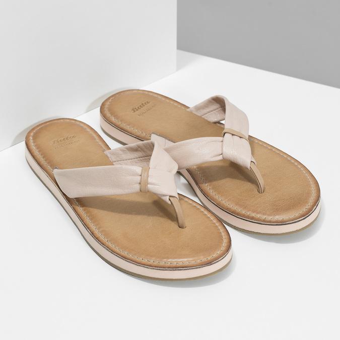 Dámské kožené žabky béžové bata, béžová, 566-2645 - 26