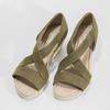 Khaki kožené sandály na klínovém podpatku gabor, khaki, 766-7379 - 16