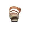 Kožené sandály na pruhované flatformě bata, hnědá, 666-4633 - 15