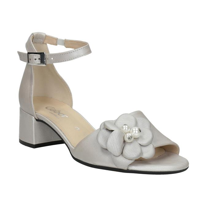 Kožené stříbrné sandály na podpatku šíře G gabor, stříbrná, 766-8022 - 13