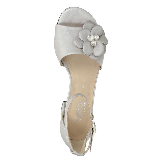 Kožené stříbrné sandály na podpatku šíře G gabor, stříbrná, 766-8022 - 15
