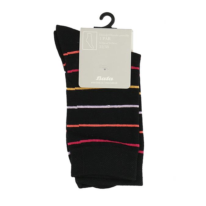 Dámské pruhované ponožky vysoké černé bata, černá, 919-6811 - 13