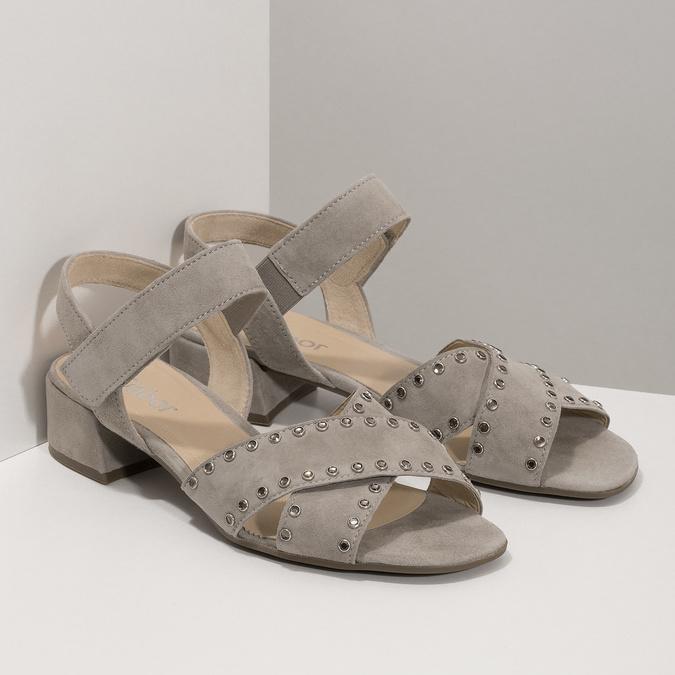 kožené sandály na nízkém podpatku s kamínky gabor, béžová, 663-8005 - 26