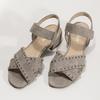 kožené sandály na nízkém podpatku s kamínky gabor, béžová, 663-8005 - 16