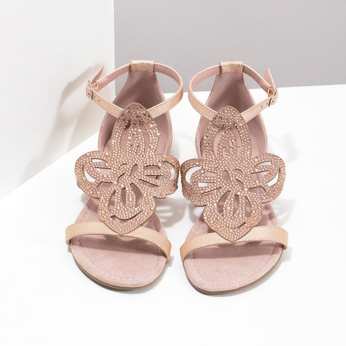 Starorůžové dámské sandály s kamínky bata, růžová, 561-5614 - 16
