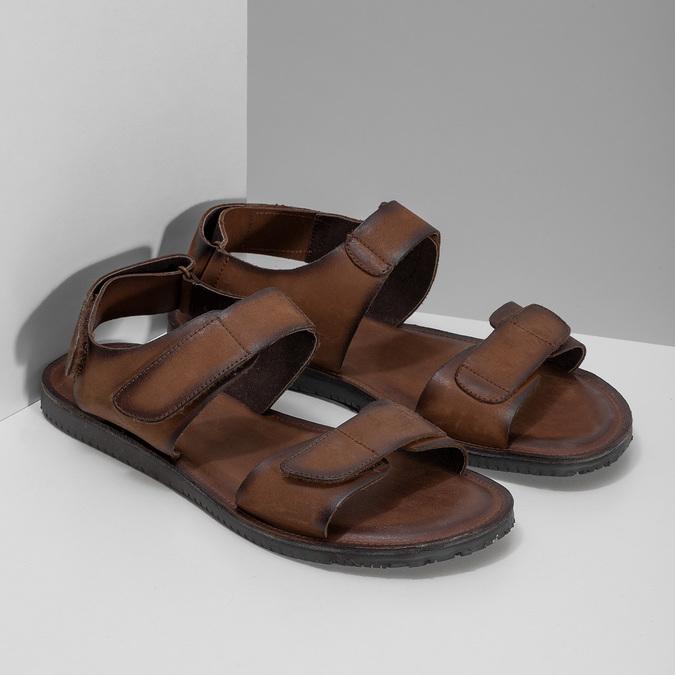 Pánské kožené hnědé Ombré sandály bata, hnědá, 866-4633 - 26