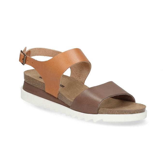 Dámské kožené sandály s korkovou podešví weinbrenner, hnědá, 566-4644 - 13