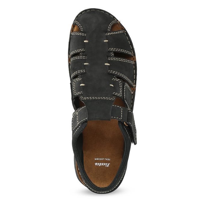 Pánské kožené sandály s plnou špičkou černé bata, černá, 866-6616 - 17