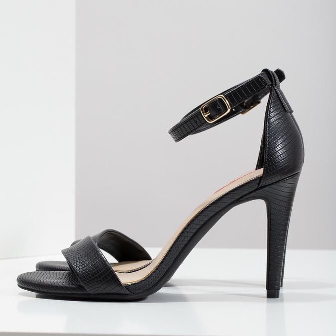 Černé sandály na jehlovém podpatku bata-red-label, černá, 661-6610 - 16