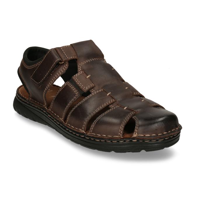 Kožené sandály se zavřenou špičkou bata, hnědá, 866-4616 - 13