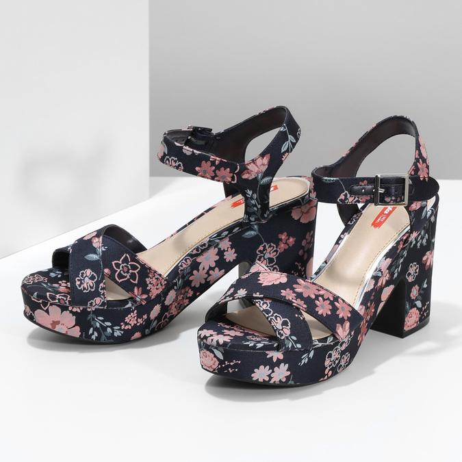 Dámské květinové sandály na masivním podpatku bata-red-label, modrá, 666-5621 - 16