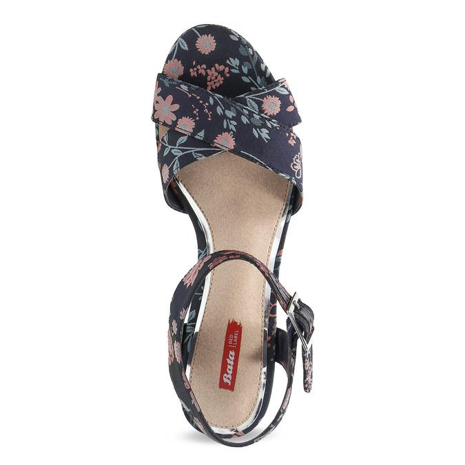 Dámské květinové sandály na masivním podpatku bata-red-label, modrá, 666-5621 - 17