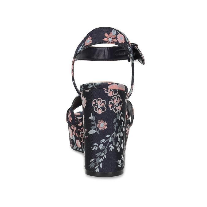 Dámské květinové sandály na masivním podpatku bata-red-label, modrá, 666-5621 - 15