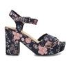 Dámské květinové sandály na masivním podpatku bata-red-label, modrá, 666-5621 - 19